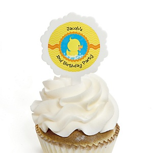 Ducky Duck - Personalized Birthday Party Cupcake Pick and Sticker Kit - 12 ct