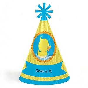 Ducky Duck - Personalized Cone Happy Birthday Party Hats for Kids and Adults - Set of 8 (Standard Size)