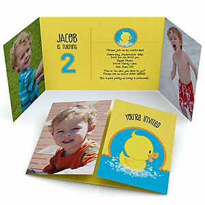 Ducky Duck - Personalized Birthday Party Photo Invitations - Set of 12