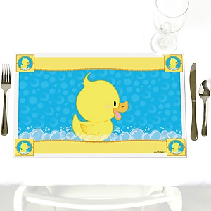 Ducky Duck - Party Table Decorations - Baby Shower or Birthday Party Placemats - Set of 12
