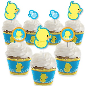 Ducky Duck - Cupcake Decoration - Baby Shower or Birthday Party Cupcake Wrappers and Treat Picks Kit - Set of 24