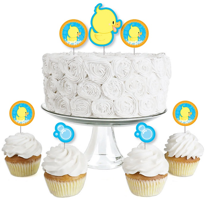 Ducky Duck - Dessert Cupcake Toppers - Baby Shower or Birthday Party Clear Treat Picks - Set of 24