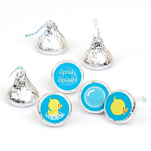 Ducky Duck - Round Candy Labels Party Favors - Fits Hershey's Kisses - 108 ct