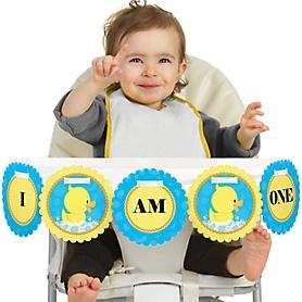 Ducky Duck 1st Birthday - I am One - First Birthday High Chair Banner