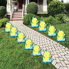 Ducky Duck - Rubber Ducky Lawn Decorations - Outdoor Baby Shower or Birthday Party Yard Decorations - 10 Piece