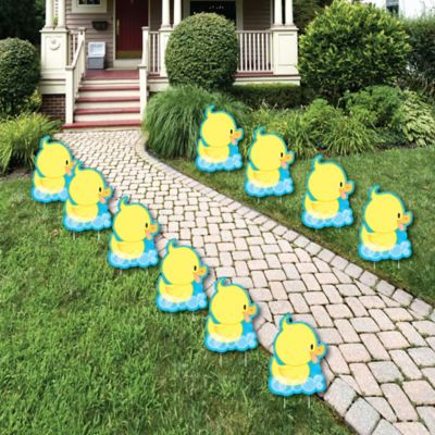 Ducky Duck   Rubber Ducky Lawn Decorations   Outdoor Baby Shower Or  Birthday Party Yard Decorations   10 Piece