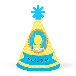 Ducky Duck - Personalized Mini Cone Baby Shower or Birthday Party Hats - Small Little Party Hats - Set of 10
