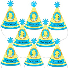 Ducky Duck - Mini Cone Baby Shower or Birthday Party Hats - Small Little Party Hats - Set of 8