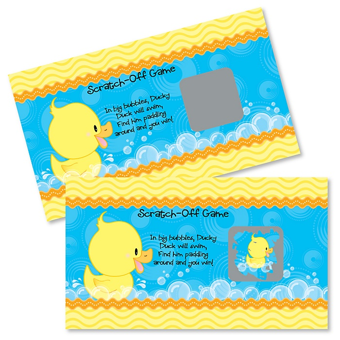 Ducky Duck - Baby Shower or Birthday Party Game Scratch Off Cards - 22 ct