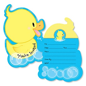 Ducky Duck - Shaped Fill-In Invitations - Baby Shower or Birthday Party Invitation Cards with Envelopes - Set of 12