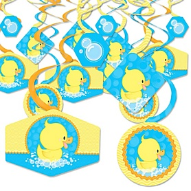 Ducky Duck - Baby Shower or Birthday Party Hanging Decor - Party Decoration Swirls - Set of 40