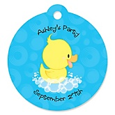 Ducky Duck - Round Personalized Party Tags - 20 ct