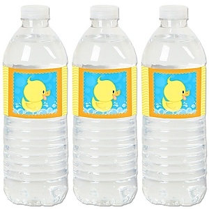 Ducky Duck - Baby Shower or Birthday Party Water Bottle Sticker Labels - Set of 20