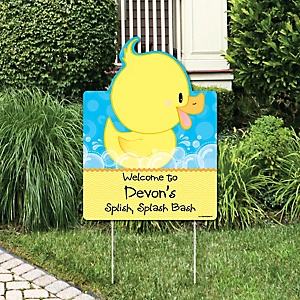 Ducky Duck - Party Decorations - Birthday Party or Baby Shower Personalized Welcome Yard Sign
