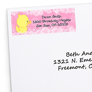 Pink Ducky Duck - Personalized Girl Baby Shower or Birthday Party Return Address Labels - 30 ct
