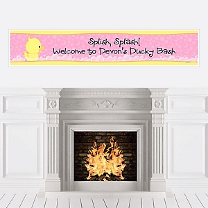 Pink Ducky Duck - Personalized Girl Baby Shower or Birthday Party Banners