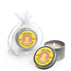 Pink Ducky Duck - Personalized Girl Baby Shower Candle Tin Favors - Set of 12