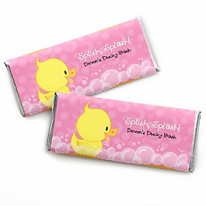 Pink Ducky Duck - Personalized Candy Bar Wrappers Girl Baby Shower or Birthday Party Favors - Set of 24