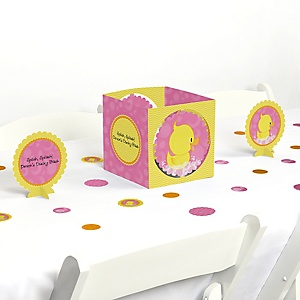 Pink Ducky Duck - Girl Baby Shower or Birthday Party Centerpiece & Table Decoration Kit