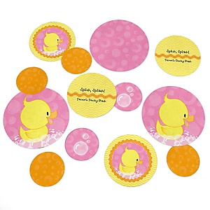 Pink Ducky Duck - Personalized Girl Baby Shower or Birthday Party Giant Circle Confetti - Pink Rubber Ducky Party Decorations - Large Confetti 27 Count