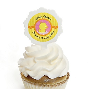 Pink Ducky Duck - 12 Cupcake Picks & 24 Personalized Stickers - Girl Baby Shower or Birthday Party Cupcake Toppers