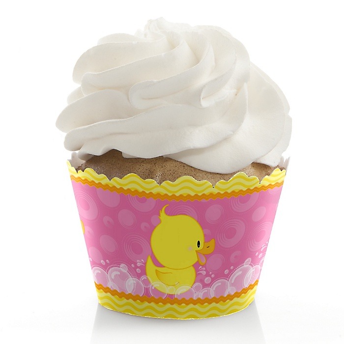Pink Ducky Duck - Girl Baby Shower or Birthday Decorations - Party Cupcake Wrappers - Set of 12
