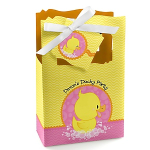 Pink Ducky Duck - Personalized Girl Baby Shower or Birthday Party Favor Boxes - Set of 12