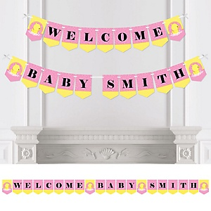 Pink Ducky Duck - Personalized Girl Baby Shower Bunting Banner