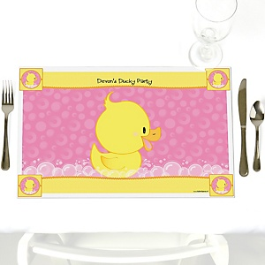 Pink Ducky Duck - Personalized Girl Baby Shower or Birthday Party Placemats