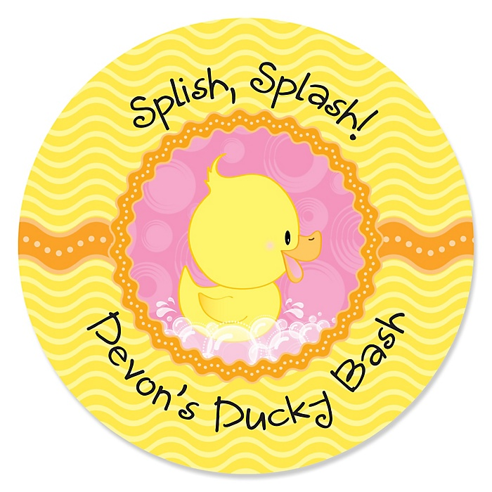 Pink Ducky Duck - Personalized Girl Baby Shower or Birthday Party Sticker Labels - 24 ct