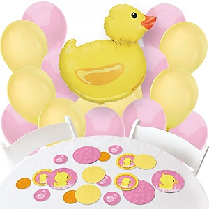 Pink Ducky Duck - Confetti and Balloon Party Decorations - Combo Kit