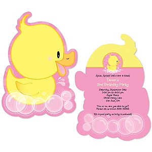 Pink Ducky Duck - Shaped Birthday Party Invitations - Set of 12