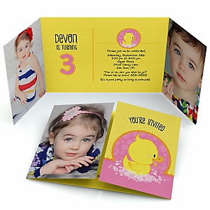Pink Ducky Duck - Personalized Birthday Party Photo Invitations - Set of 12