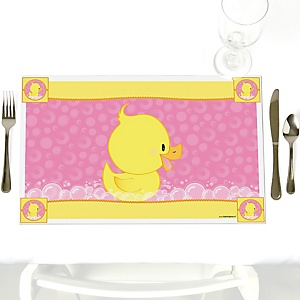 Pink Ducky Duck - Party Table Decorations - Girl Baby Shower or Birthday Party Placemats - Set of 12