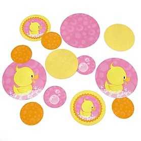 Pink Ducky Duck - Girl Baby Shower or Birthday Party Giant Circle Confetti - Pink Rubber Ducky Party Decorations - Large Confetti 27 Count