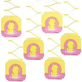 Pink Ducky Duck - Girl Baby Shower or Birthday Party Hanging Decorations - 6 ct