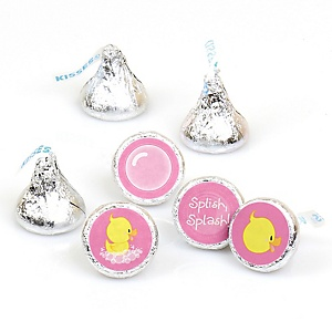 Pink Ducky Duck - Girl Baby Shower or Birthday Party Round Candy Labels Party Favors - Fits Hershey's Kisses - 108 ct