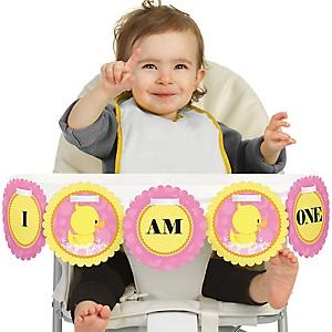 Pink Ducky Duck 1st Birthday - I am One - First Birthday High Chair Banner