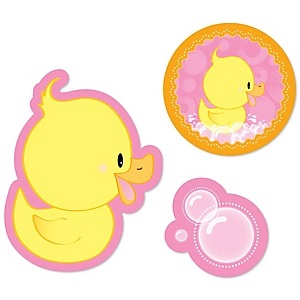 Pink Ducky Duck - Shaped Girl Baby Shower or Birthday Party Paper Cut-Outs - 24 ct