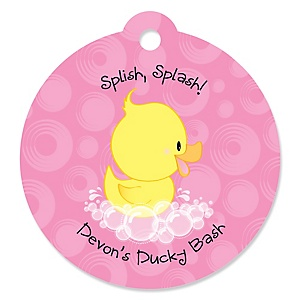 Pink Ducky Duck - Round Personalized Girl Baby Shower or Birthday Party Tags - 20 ct