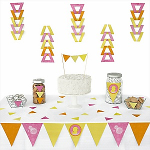 Pink Ducky Duck - 72 Piece Triangle Girl Baby Shower or Birthday Party Decoration Kit