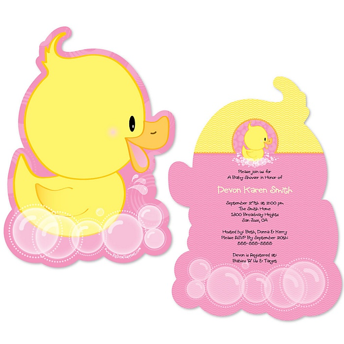 Pink Ducky Duck - Shaped Girl Baby Shower Invitations - Set of 12