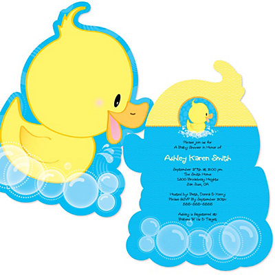 ducky duck  shaped baby shower invitations  bigdotofhappiness, Baby shower