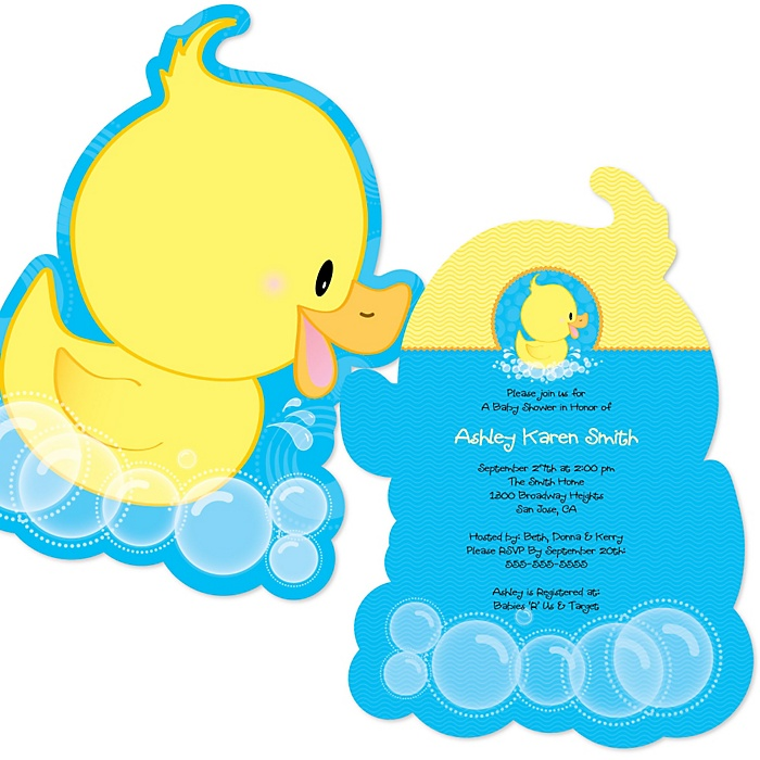 Ducky Duck - Shaped Baby Shower Invitations - Set of 12