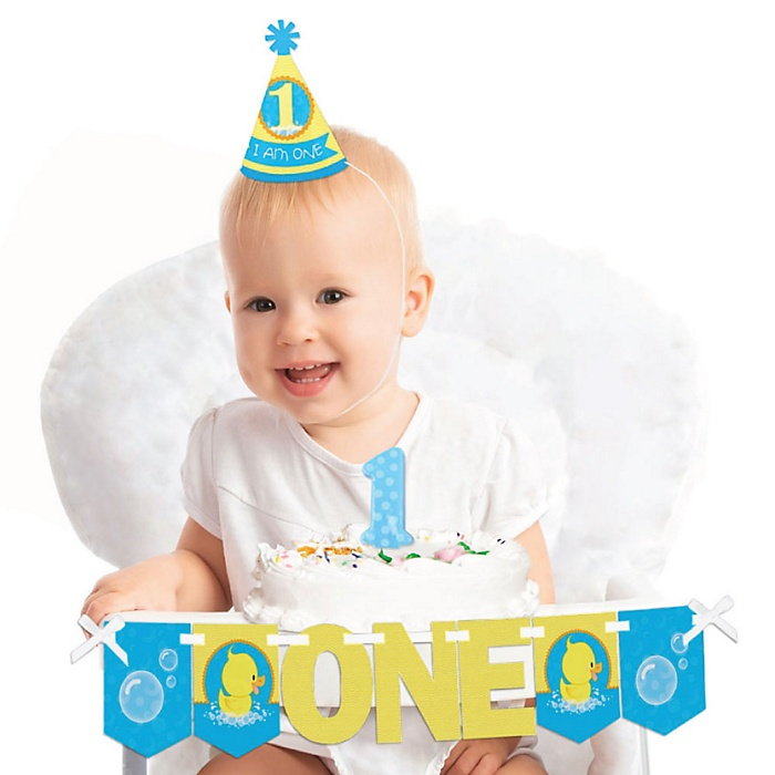 Ducky Duck 1st Birthday - First Birthday Boy or Girl Smash Cake Decorating Kit - High Chair Decorations