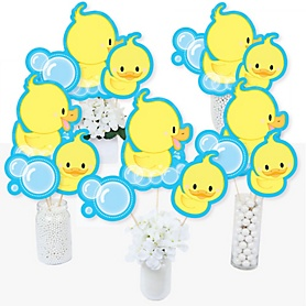 Ducky Duck - Baby Shower or Birthday Party Centerpiece Sticks - Table Toppers - Set of 15