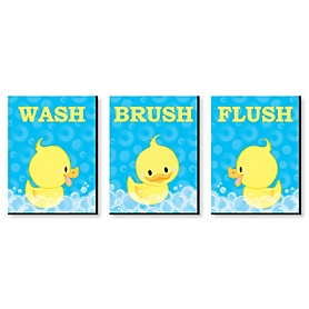 Ducky Duck - Kids Bathroom Rules Wall Art - 7.5 x 10 inches - Set of 3 Signs - Wash, Brush, Flush