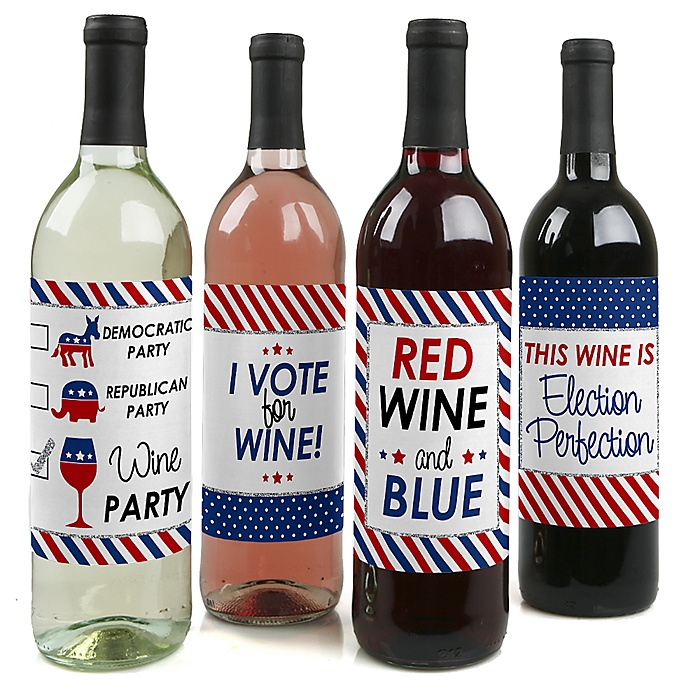Election - Political Party - Decorations for Women and Men - Wine Bottle Label Stickers - Set of 4