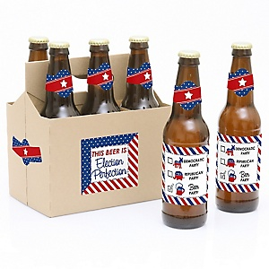 Election - Political Party - Decorations for Women and Men - 6 Beer Bottle Label Stickers and 1 Carrier