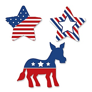 Election (D) - DIY Shaped Political Party Cut-Outs - 24 ct